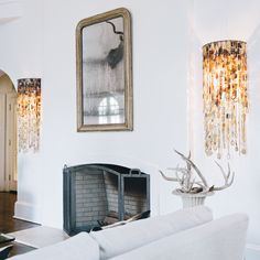 DIRA Cow Horn Chandelier Sconces - handcrafted in South Africa Sconce Lighting, Lighting Design, Lighting Ideas, Cow Horns, African Design, Contemporary Furniture, Lamp Light, Home Furnishings, Sconces