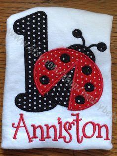 Ladybug applique red black birthday one bodysuit  by NeeleyBets, $21.00