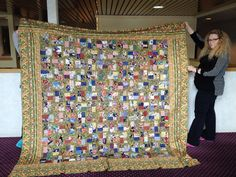 PugMom Quilts!: Kim G with her finished quilt top - Sparkling Gemstones from the book Jelly Roll Quilts by Pam & Nicky Lintott.