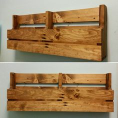 Reclaimed Pallet Wood 2 Pocket Wall/Floor Organizer. Mail holder, file holder, magazine rack, vinyl record storage, office decor, kitchen decor.