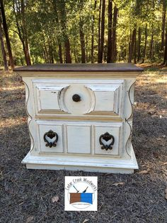 Painted / stained vintage two drawer chest / side table