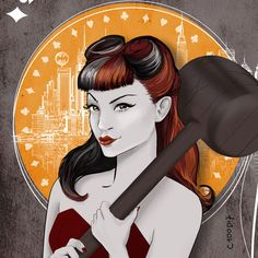 Harley Quinn - Dc Comics Fanart on Mucha Pin Up style by @C100D17 PetitAtelierC100D17 on Etsy