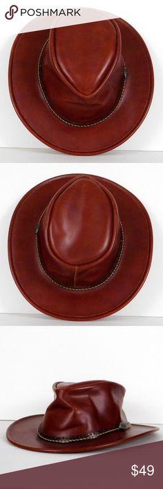 efee288e987 Kakadu Australian Hat Mens M Brown Leather Western Kakadu Traders  Australian Hat Men s M Tobacco Brown