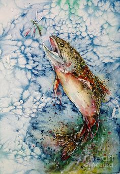 Trout Painting - Hunting For Dragonfly by Zaira Dzhaubaeva