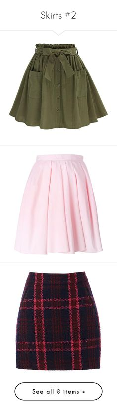 """""""Skirts #2"""" by carlou863 on Polyvore featuring skirts, green circle skirt, green skirt, green skater skirt, button up front skirt, skater skirt, mini skirts, bottoms, saias et faldas"""