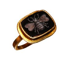 Black Onyx Bee Ring by Whitney Abrams, 18K & 22K