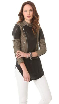 Two Tone Leather Biker Jacket | BLK DNM