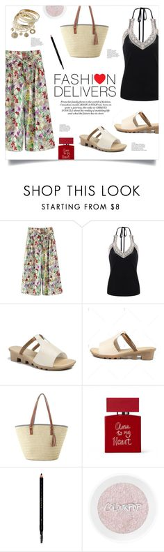 """""""Fashion Delivers"""" by mahafromkailash ❤ liked on Polyvore featuring Bella Freud, Gucci, Wedge, StrawBag, widepants, haltertop and culottes"""