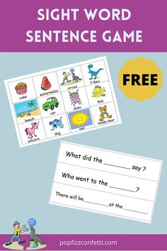 Free printable sight word sentence game.