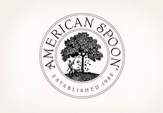 Louise Fili logo for American Spoon. wood engraving, botanical illustration, typography