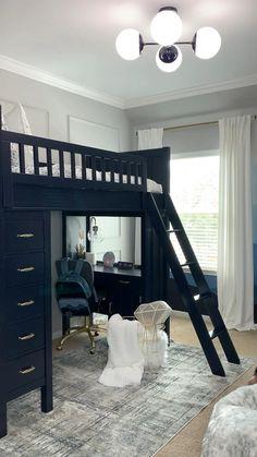 Cozy Teen Bedroom, Diy Bedroom Decor For Teens, Modern Kids Bedroom, Pink Bedroom Decor, Teen Bedroom Designs, Room Interior, Home Interior Design, Boys Loft Beds, Glam Living Room