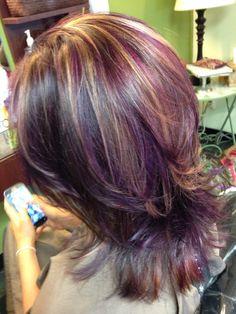 Rich Purple hair with Carmel high lites. By Sarah Spiwak