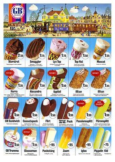 1975 - Mmm Top Hat. Och 88:an. Igloo. 88:an igen. Ice Cream Prices, Ice Cream Novelties, Ice Cream Poster, Fika, Retro Toys, Interesting History, Illustrations And Posters, Retro Design, Kids Meals