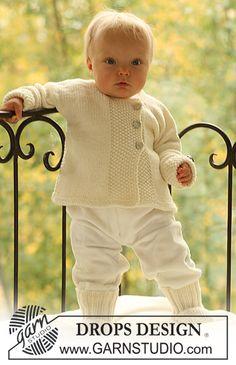 """Chaqueta y calcetas DROPS tejidas en punto de arroz, en """"Merino Extra Fine"""". ~ DROPS Design"""