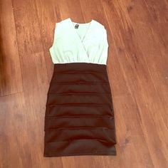 Sheer mint and black dress Small stain on bust area, sheer mint top. Cotton black bottom half. A few stitching pulls on bottom, zipper on the side. Bust 14. Length 321/2. Hips 151/2. No trades. No holds. Fast shipping. WINDSOR Dresses Midi