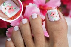 17 Ideas french pedicure designs toenails pretty toes for 2019 Pedicure Nail Art, Pedicure Colors, Toe Nail Art, Nail Manicure, French Pedicure Designs, Toe Nail Designs, Cute Toe Nails, Fancy Nails, Es Nails