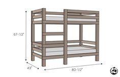 simple-diy-2x4-bunk-bed -Free DIY Plans   rogueengineer.com #SimpleDiy2x4BunkBed #DecorDIYplans