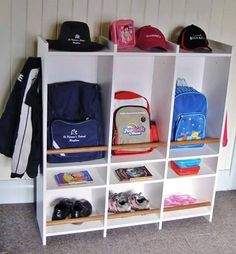 9 Cute and Clever School Bag Storage Ideas - Great information, tips, crafts and recipes for School Mums. : 9 Cute and Clever School Bag Storage Ideas - Great information, tips, crafts and recipes for School Mums. School Bag Organization, School Bag Storage, Backpack Organization, Home Organisation, Kids Storage, Storage Hacks, Room Organization, Storage Ideas, Kids Backpack Storage