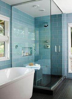 #BlueBathroom I love the blue subway tiles