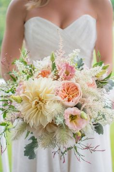 Pastel wedding bouquet idea - peach + yellow bouquet with Juliet garden roses, cafe au lait dahlias, astilbe, and bunny tail grass {Light Source Photography}