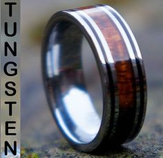 mens rings wood inlay | ... Genuine-KOA-Wood-Inlay-Mens-Tungsten-Carbide-Wedding-Band-Ring-Size-R