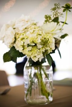 Hydrangea Centerpieces 275x412 Maryland Wedding Reception at Home: Laurie + Dave