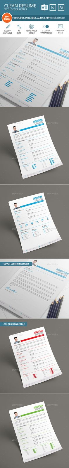 Resume Template PSD, Vector EPS, InDesign INDD, AI, MS Word Resume