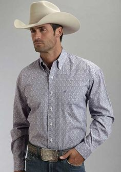 INSPIRATION - tonal print damask with plaid inside cuff - Stetson Mens Long Sleeve Print Western Button Down Shirt - Purple
