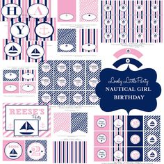 Personalized Printable Nautical Girl Birthday Package - LOVELY LITTLE PARTY via Etsy