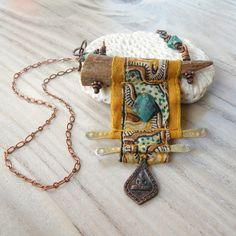 Nomadic Scroll Necklace Silk Wrapped Antler Necklace with Buddha Amulet and Turquoise - Luxury jewelry Fiber Art Jewelry, Mixed Media Jewelry, Textile Jewelry, Fabric Jewelry, Tribal Jewelry, Boho Jewelry, Jewelry Crafts, Jewelry Art, Beaded Jewelry