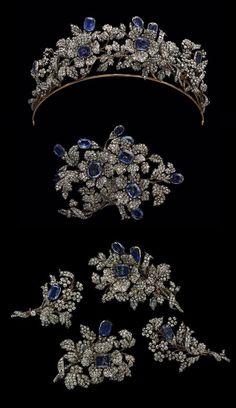Bridal Jewelry The sapphire and diamond parure of Princess Marguerite of Urach, Countess of Wurtemberg, circa Materials: silver, gold, diamonds and sapphires. Sparkly Jewelry, Royal Jewelry, Turquoise Jewelry, Crystal Jewelry, Jewelry Art, Wedding Jewelry, Antique Jewelry, Jewelry Gifts, Silver Jewelry