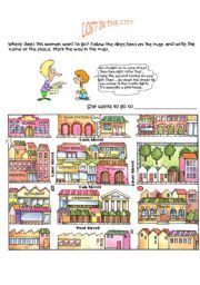 English worksheet: GIVING DIRECTIONS GAME 1