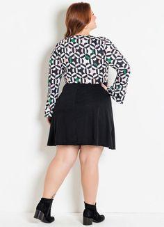 Vestido Transpassado Geométrico Preto Plus Size - Marguerite Waist Skirt, High Waisted Skirt, Mini Skirts, Fashion, Plus Size Girls, Black, Cut Outs, Sleeves, Moda