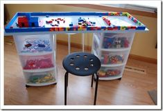 diy lego table plus storage. See kids. This is why I saved all your old Legos.