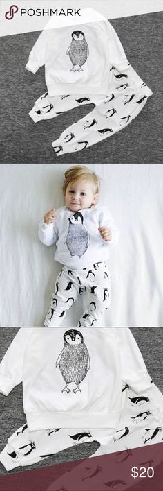 One Day Sale! PENGUIN outfit baby size 18 mo.NEW 95 % cotton, 5% spandex. White suit with cartoon penguins on pull-on pants with light-weight sweatshirt style top. New in bag, never worn. Kids Tales Matching Sets