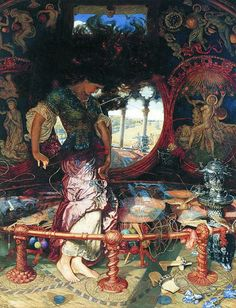 One of my teachers in high school had a poster of this painting, and I was obsessed with it for the two years I had her for homeroom. The painting is The Lady of Shallot by William Holman Hunt.