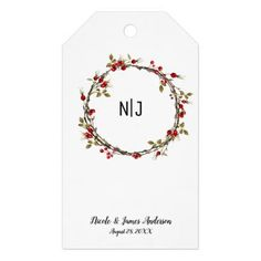 Rustic Cranberry Berries Floral Wreath favor Gift Tags - Xmas ChristmasEve Christmas Eve Christmas merry xmas family kids gifts holidays Santa