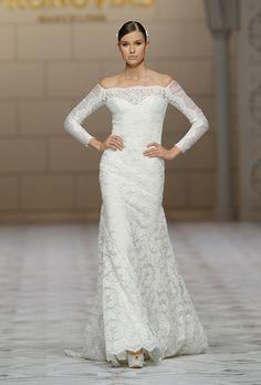 1571124b7a4 Long sleeve off-the-shoulder sheath wedding dress with