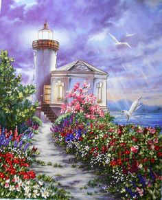 Needlework,DMC Cross Unprinted for Embroidery kits Seaside Lighthouse Scenery Art Cross-Stitching,DIY Handmade decor Lighthouse Painting, Lighthouse Keeper, Thomas Kinkade, Belle Image Nature, Murals Your Way, Lighthouse Pictures, Light Art, Beautiful Paintings, Art Pictures