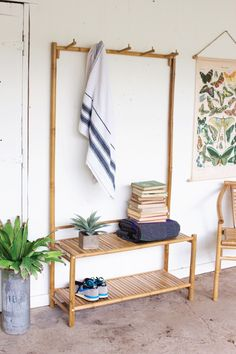 bamboo bench and hooks