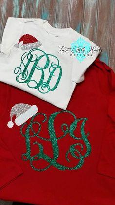 Santa Hat Glitter Christmas Monogram (Youth and Toddler Long Sleeve) on Etsy, $18.99