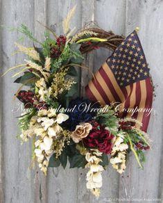 Patriotic Wreath Americana Wreath Fourth of July Wreath Memorial Day Williamsburg Floral Wreath Designer Wreath Tea Stained Flag Patriotic Wreath, Patriotic Crafts, July Crafts, Flag Wreath, Fourth Of July Decor, 4th Of July Decorations, July 4th, 4th Of July Wreaths, Church Decorations