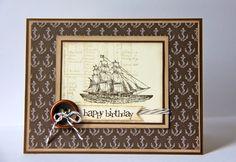 Cardstock: Early Espresso, Crumb Cake, Very Vanilla DSP: Nautical Expedition Stamps: The Open Sea, Party This Way (sentiment) Ink: Early Espresso, Crumb Cake Other: Early Espresso Baker's Twine, Button, Dimensionals, Sponge Daubers