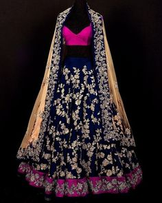 Blue dupion silk embroidery unstitched lehenga choli