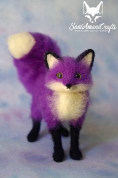 Needle felting Purple fox by SaniAmaniCrafts #needlefelted #SaniAmaniCrafts #needlefeltedfox #Purplefox