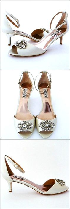 """Badgley Mischka Wedding Shoes. At last! A glamorous low heeled wedding shoe designed by Badgley Mischka. Vintage ornament and adjustable ankle strap provide """"Deco Glam"""" style, while the 2 1/4"""" kitten heel lends a bit of practicality."""