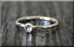 Sterling Silver Swarovski Diamond Ring April by thewrappedpixie