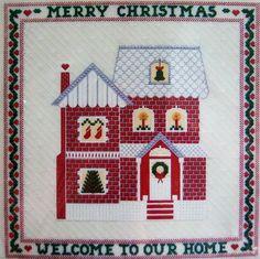 Needlepoint Kit Christmas Home Sampler VTG 1982 CHALLENGING Carol Costello  #Dimensions