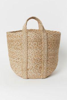 Braided basket - Light beige - Home All | H&M GB Baskets On Wall, Storage Baskets, Passion Deco, Basket Lighting, Concept Shop, H&m Home, Bathroom Kids, H&m Gifts, Fibre