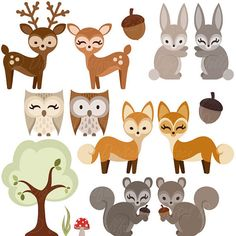 Woodland Forest Animal Clipart Owl Deer Fox by DigitalDollface